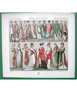 FRENCH WOMEN Costume Craze for Shawls - RACINET Color Litho Print - $12.15