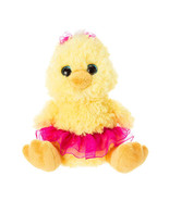 """Aurora Yellow Plush Chick with Pink Tutu and Bow Stuffed Easter 7"""" - NWT - $8.85"""