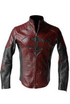 NEW SUPERMAN MAN OF STEEL SMALLVILLE BLACK AND RED LEATHER S SHIELD JACK... - $54.44+