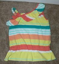 Gymboree Girls Yellow Orange Green Striped Tank Top Shirt Size 7 - $6.99
