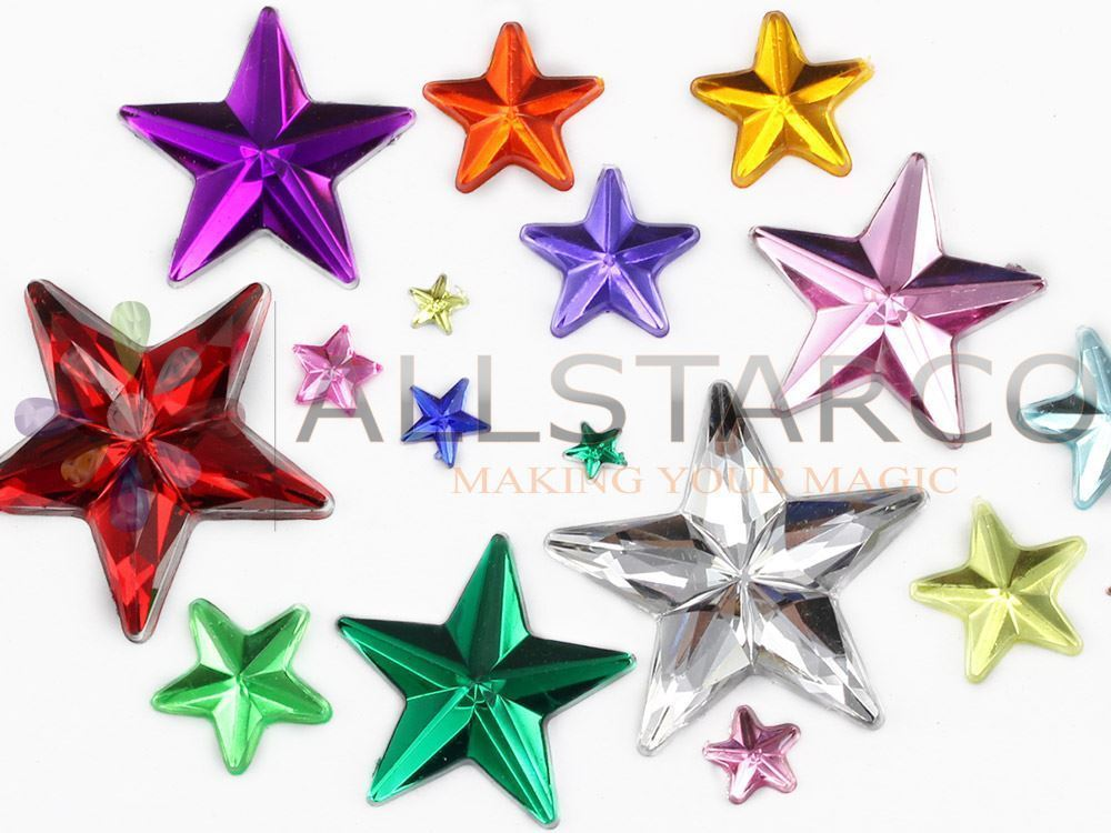 5mm Rose H112 Flat Back Acrylic Star Gems High Quality - 125 PCS