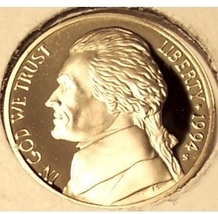 1994-S DCAM Proof Jefferson Nickel PF65 #0574 - $3.19
