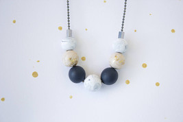 Beaded necklace for woman, delicate necklace, marble blue gold white nec... - $21.00
