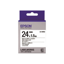 24mm Black on White - Epson LABELWORKS LK-6WB2 Magnetic Tape Cartridges ... - $101.99