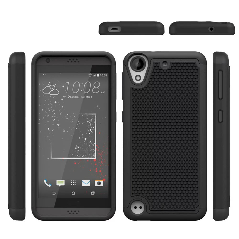 Dual layer hybrid defender armor protective case for htc desire 530 630 black p20160525162438895