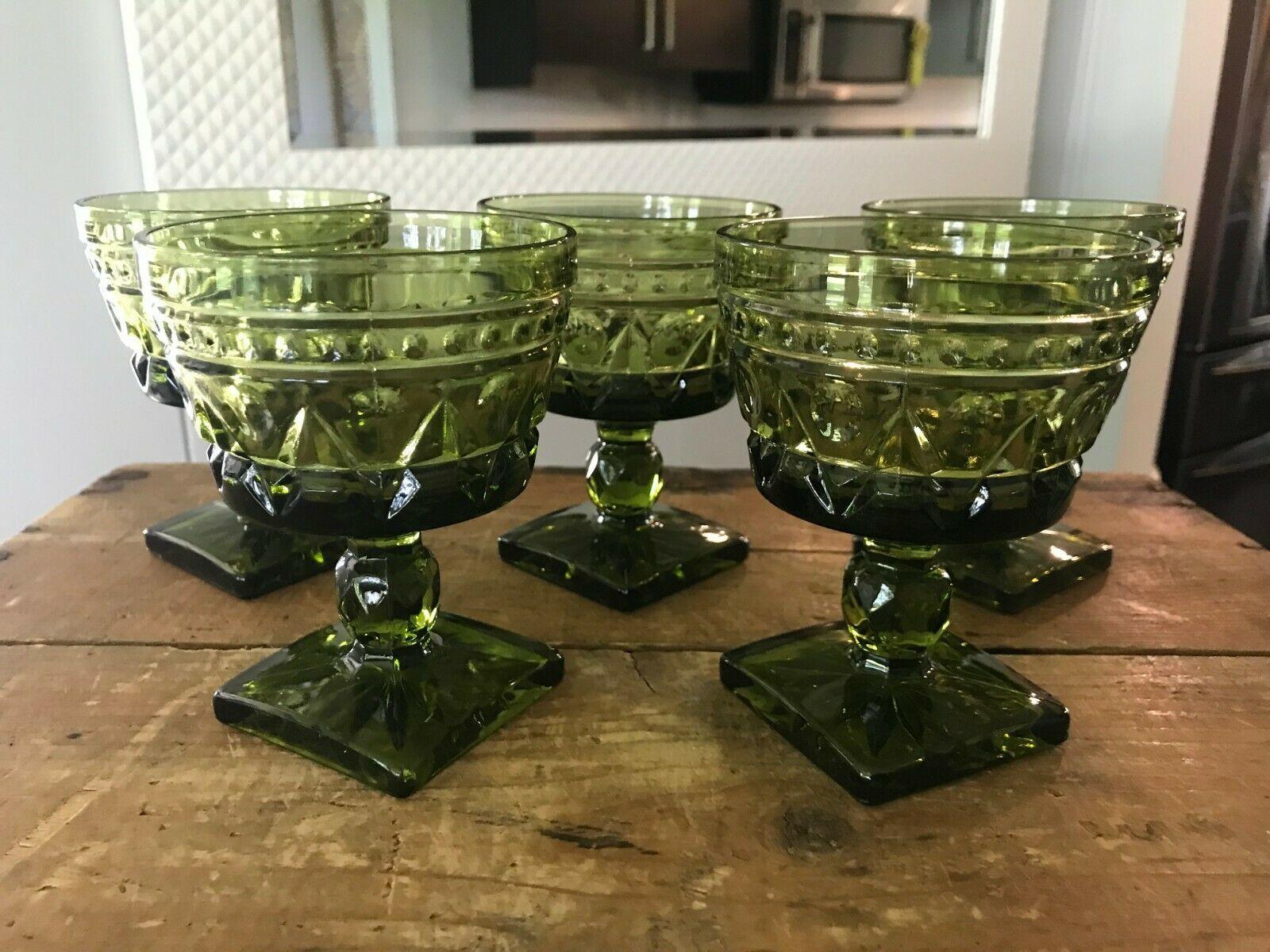 "5 x 70s MCM Colony Park Lane Green Depression Glasses Champagne Sherbet, 4 3/8"" - $96.74"