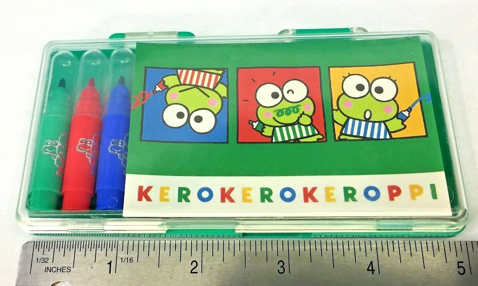 Primary image for Vintage 1992 Sanrio Keroppi Frog Mini Memo Notepad Notes Markers Case Set New