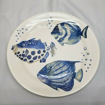Pier 1 Coastal Fish Dinner Plate Melamine Blue Sea Ocean Nautical Life (1) New - $19.78