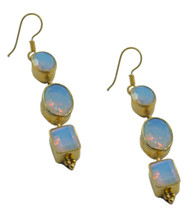 Yellow Gold Plated Glass captivating Fire Opal CZ supply Earring AU gift - $17.61