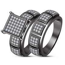 Black Gold Over 925 Silver 1.75 Ct Round Cut Diamond Bridal Set Engageme... - $85.13
