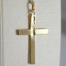 Cross Pendant White Yellow Gold 750 18K, Rectangle, Satin Made in Italy image 2