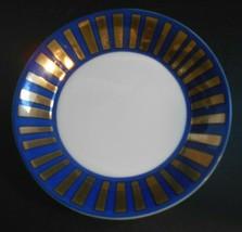 Vtg Fitz Floyd Tutankhamun 1977 Blue Gold Rim Porcelain 5 1/2  Bread Plate - $18.56