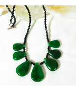 Necklace with Rare Black Spinel and Emerald Pendants Natural Stones Gems... - $38.61