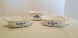 3 Vintage Corning Ware Blue Cornflower Petite Pans 22 Oz P-43-B & P-41 D... - $14.55