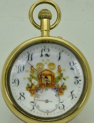 Primary image for Very rare antique Longines Masonic ball watch c1900s.Demonstator back.Fancy dial