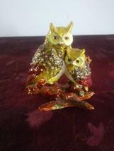 Mother And Baby Owl Jeweled Enamel Trinket - $46.74