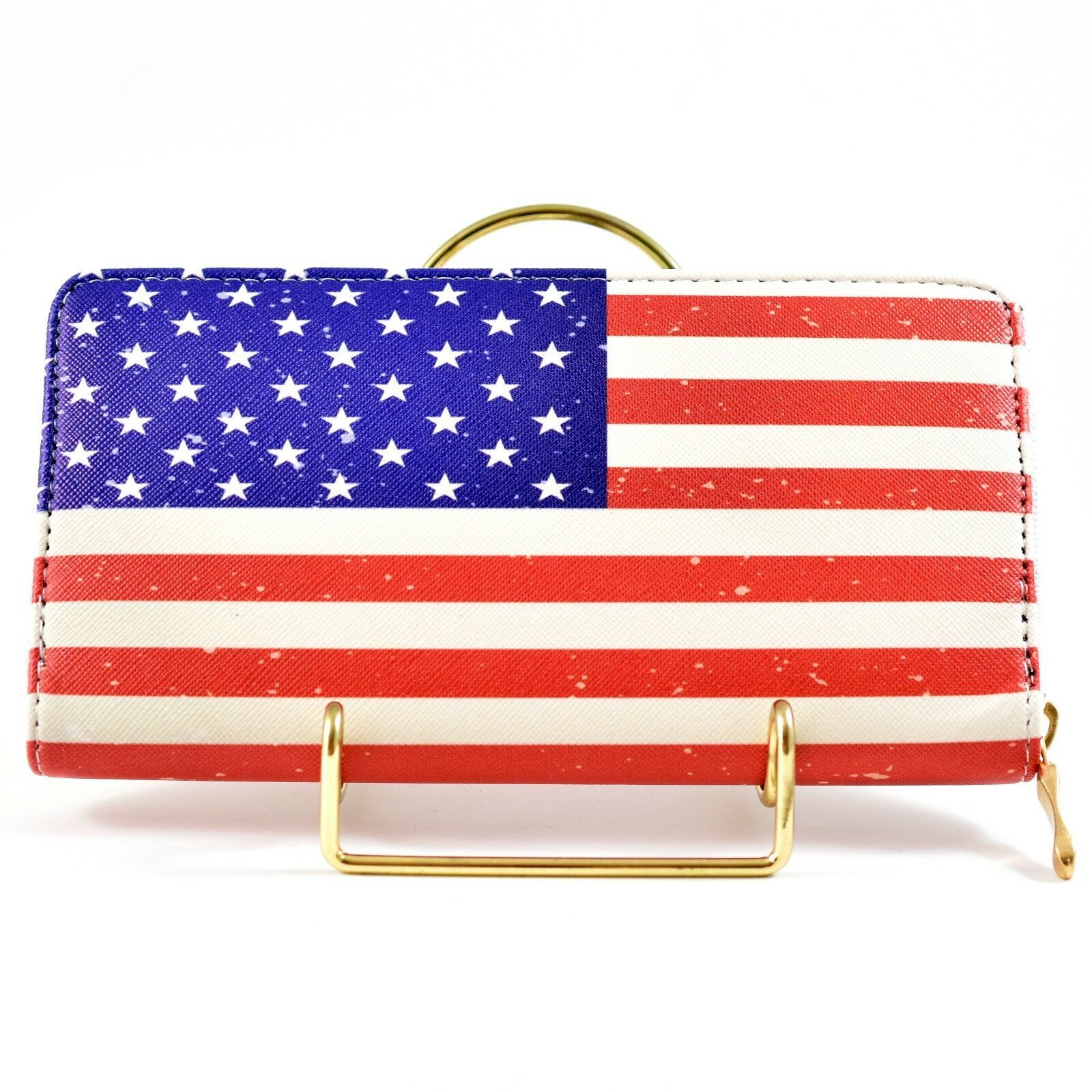American Flag USA Red White Blue Patriotic Clutch Wallet New