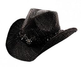 TX-150 Black COWBOY HAT MATCHING HEART Hat BELT RHINESTONE TRIM One Size... - $46.74