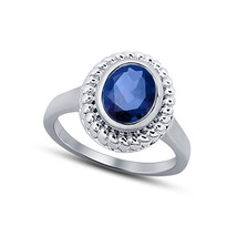 Oval Cut Blue Sapphire Womens Engagement Ring 14k White Finish 925 Solid... - £54.19 GBP
