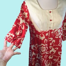 Vtg Sears Hawaiian Fashions Maxi Dress Red Cotton Hippie Granny Chic Medium - $39.11