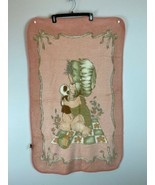Vintage Santonja Baby Blanket Crib Little Girl Panda Pink Acrylic Plush ... - $79.19