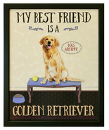 "My Best Friend is a ""Golden Retriever"" 17.5 x 21.5 Dogs Are Love Framed ... - $52.00"