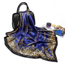 Fashion Women Scarf Luxury Brand Pink Leopard Hijab Silky Satin Shawl Scarfs Fou image 3