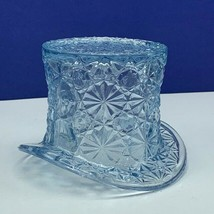 Fenton art glass top hat daisy button toothpick holder hobnail vtg Blue ... - $38.53