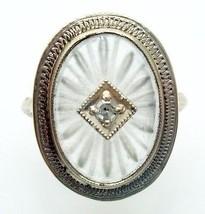 14k Gold Art Deco Filigree Genuine Natural Rock Crystal Ring w/Diamond (#2861) - $363.38