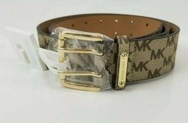 $68 Micheal Kors Belt Tan Brown MK Logo Print Gold Buckle Large New Doub... - $49.49