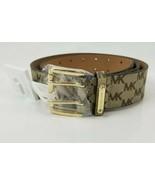 $68 Micheal Kors Belt Tan Brown MK Logo Print Gold Buckle Large New Doub... - $49.49