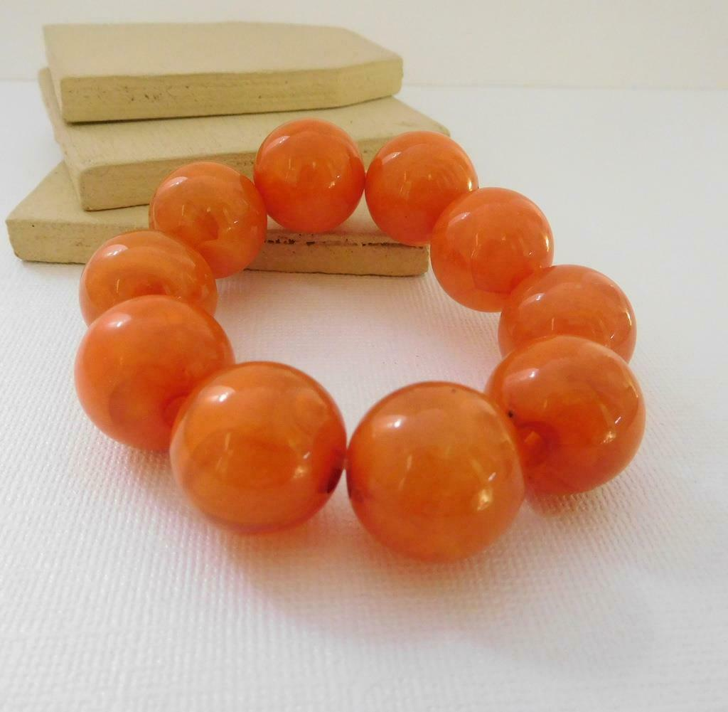 Retro 80s Amber Orange Marbleized Acrylic Bead Chunky Stretch Bracelet C9