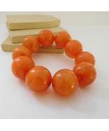 Retro 80s Amber Orange Marbleized Acrylic Bead Chunky Stretch Bracelet C9 - $11.89