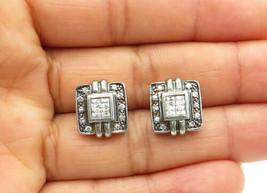 925 Sterling Silver - Vintage Petite Topaz Square Design Stud Earrings -... - $25.90