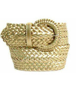 Wide GOLD Braided Belt for Women Leather 3 IN Cinch Fashion Dress Casual... - $15.00