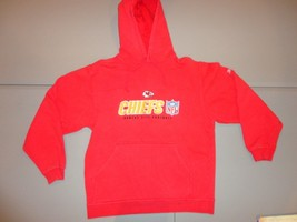 Red Embroidered Reebok Kansas City Chiefs NFL Hooded Hoodie Sweatshirt M... - €25,12 EUR