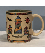 Nautical Abstract Colorful Coffee Mug Lighthouse Graphics Charlevoix Mic... - $7.84