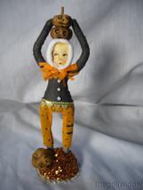 Vintage Inspired Spun Cotton Scared Boy with Pumpkins Halloween no. HW15 image 1