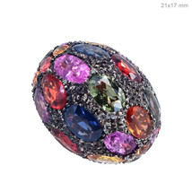 New Sapphire Disco Ball 925 Sterling Silver Jewelry Spacer Bead Finding ... - $695.34
