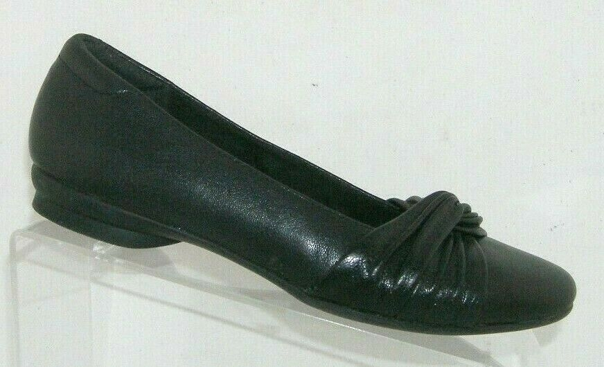 Primary image for Clarks 'Candra Gleam' black leather square toe slip on knotted flats 6M