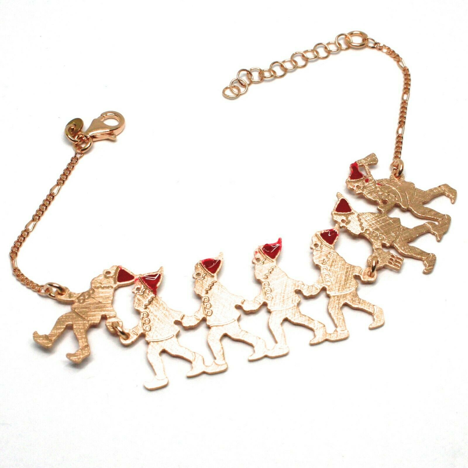 Silver 925 Bracelet, Seven Dwarfs in a row, Jewelry le Favole