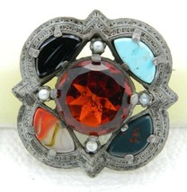 VTG MIRACLE Signed Silver Tone Topaz Rhinestone Stone Glass Pin Brooch - $74.25
