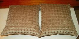 Pair of Beige Circle Print Patchwork Print Throw Pillows  18 x 18 - $49.95