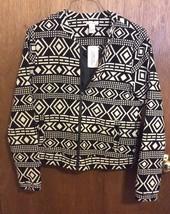 Forever Twentyone Black & Cream Geometric Zippered Jacket - $16.82