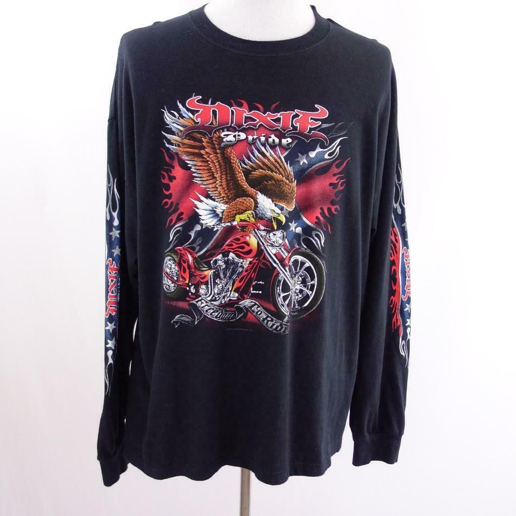 Primary image for Keya Dixie Pride Freedom To Ride Black L/S Graphic T Shirt USA Mens Sz 2XL