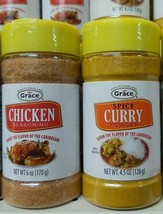 Grace Spicy Curry Powder 4.5oz and Grace Chicken Seasoning 6oz - $17.82
