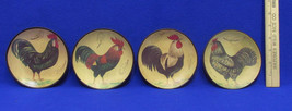 Vintage Rooster Coasters Set of 4 Ceramic Black Round Hand Painted Images - $12.86