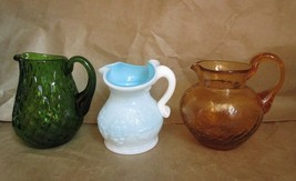Vintage Glass Pitchers Jugs Milk Kanawha Pilgrim Amber Crackle Green Diamond! - $29.65