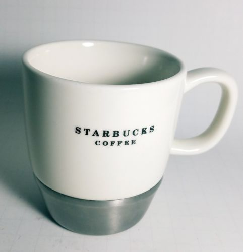 STARBUCKS 2006 MUG, WHITE WITH METAL NON SKID BOTTOM, 10 oz. CUP
