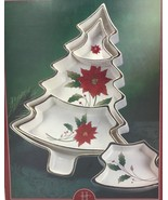 Royal Limited Holly Holiday Christmas Tree Sectioned Serving Tray RARE N... - $84.95